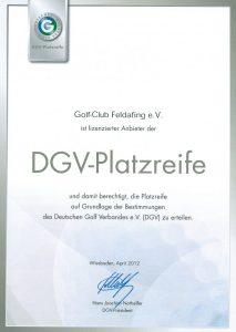Zertifikat DGV-Platzreife